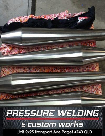 pressure-welding-mackay-motorcycle-mufflers-reverse-cones-stainless-steel